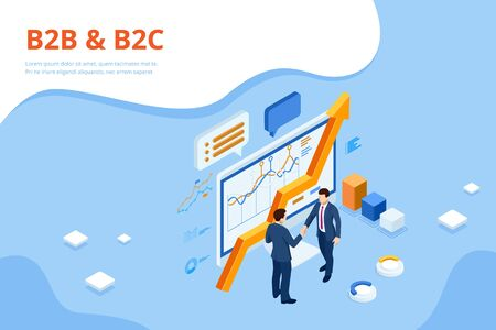 Isometric Business to Business Marketing, B2B Solution, business marketing concept Ilustracja