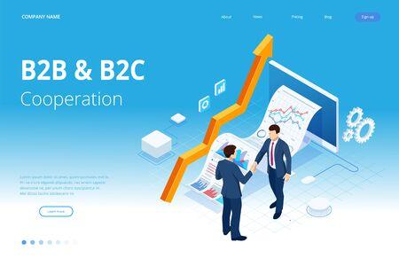 Marketing isométrique d'entreprise à entreprise, solution B2B, concept de marketing d'entreprise. Vecteurs