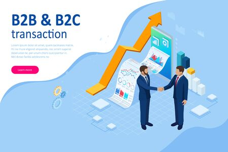 Isometric Business to Business Marketing, B2B Solution, business marketing concept. Ilustracja