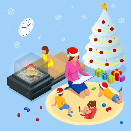 Merry Christmas and Happy Holidays concept. Mom reading a book to children near Christmas tree indoors Ilustracja