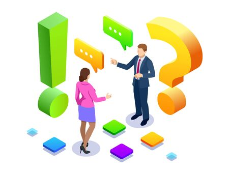 Isometric man and woman standing near exclamations and question marks