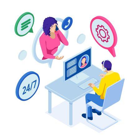 Isometric customer service. Customer and Operator. Vetores
