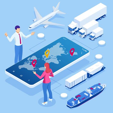 Global logistics network isometric illustration Icons set of air cargo trucking rail transportation maritime shipping On-time delivery