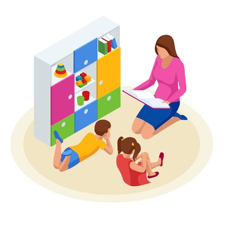 Isometric family reading book for children. Mother reading a book to her daughter and son. Happy time at home
