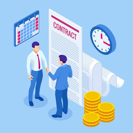 Isometric signed a contract with a stamp. Document with a signature. The form of the document. Business financial agreement or contract. Illustration