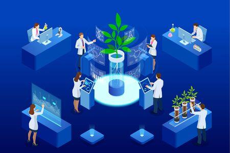 Concepto isométrico de laboratorio que explora nuevos métodos de fitomejoramiento y genética agrícola. Plantas que crecen en los tubos de ensayo.