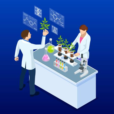 Isometric concept of laboratory exploring new methods of plant breeding and agricultural genetics. Vector Illustration