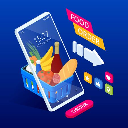 Isometric shopping groceries online supermarket with her mobile phone. Health food delivery online service