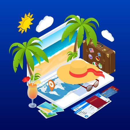 Concept de vacances d'été isométrique. Réservation de billets en ligne. Internet e-commerce, voyages et technologie. Les personnes voyageant en vacances en saison estivale. Vecteurs