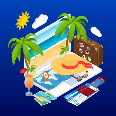 Isometric Summer Vacation concept. Online ticket booking. Internet e-commerce, travel and technology. People traveling on vacation holiday in summer season.