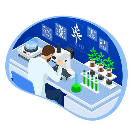 Isometric concept of laboratory exploring new methods of plant breeding and agricultural genetics. Plants growing in the test tubes. Organic food ,agriculture and hydroponic. Ilustracja