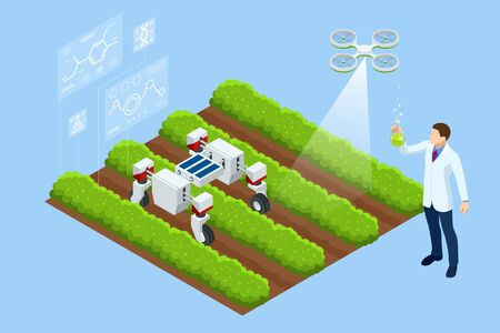 Isometric concept of laboratory exploring new methods of plant breeding and agricultural genetics. Vegetable hydroponic system, agriculture in the greenhouse organic for health food. Ilustrace