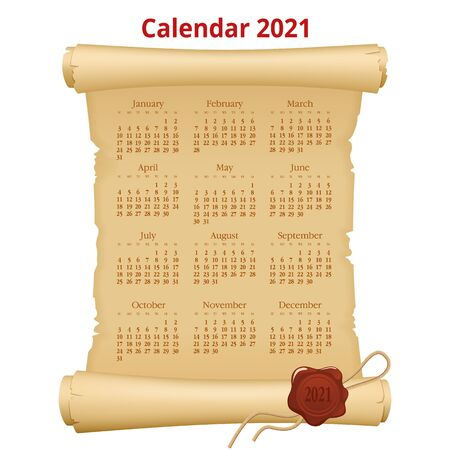 2021 Calendar on old paper. Week Starts Sunday. Portrait Orientation. Set of 12 Months. Planner for 2021 Year Illustration