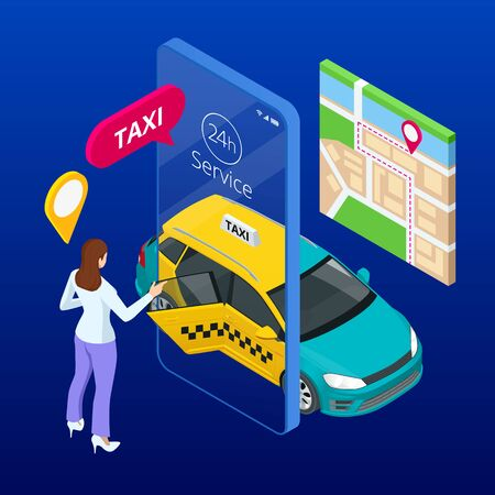 Taxi service. Mobile phone with taxi app on city background. Online mobile taxi order service app. Isometric taxi yellow cab and GPS route point pins on smartphone and touchscreen.