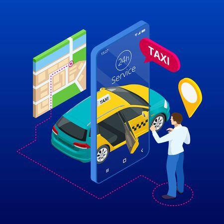 Servicio de taxi. Teléfono móvil con aplicación de taxi en el fondo de la ciudad. Aplicación de servicio de pedido de taxi móvil en línea. Taxi isométrico taxi amarillo y pines de punto de ruta GPS en el teléfono inteligente y la pantalla táctil.