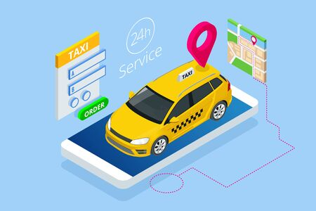 Isometric Ordering Online Taxi and Call a taxi online, mobile application concept for landing page. Street traffic, parking, city transport, GPS route point pins on smartphone and touchscreen. 矢量图像
