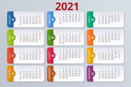 Calendario 2021, modello di stampa con posto per foto, logo e testo.