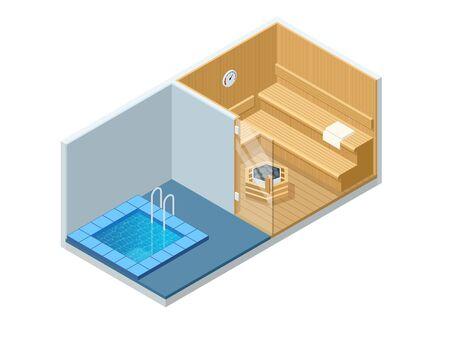 Intérieur de sauna isométrique et piscine froide.