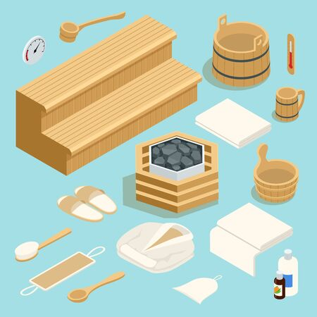 Isometric room with traditional sauna accessories isoladed on white. Different tool for sauna