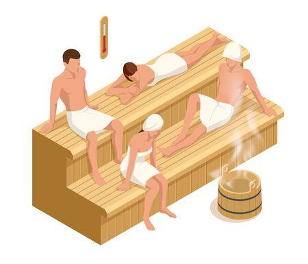 Intérieur isométrique du sauna et des gens finlandais en bois, relaxation et santé du spa. Concept de mode de vie relationnel, relaxant, récréatif et bien-être. Vecteurs