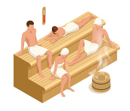 Isometric interior of wooden finnish sauna and people, spa relaxation and health. Relationship, relax, recreation and wellness lifestyle concept.