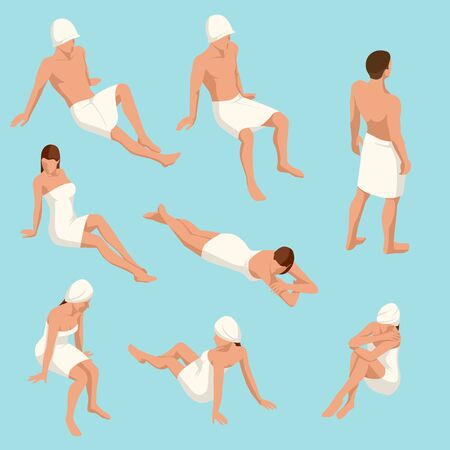 Isometric set of people in different poses for sauna design isolated on a light background. People enjoying hot steam procedures.