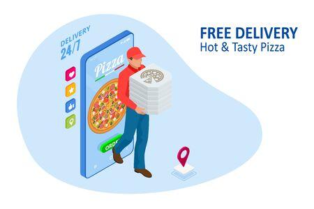 Modèles d'applications mobiles de commande de pizza en ligne isométrique. Livraison gratuite, service en ligne de livraison de restauration rapide.