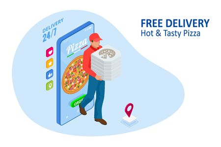 Plantillas de aplicaciones móviles de pedidos de pizza en línea isométrica. Entrega gratuita, servicio de entrega de comida rápida en línea.