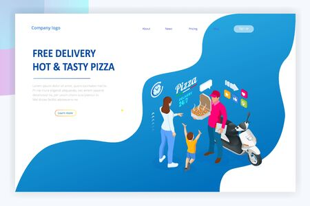 Isometrische Online-Pizza-Bestellung für mobile App-Vorlagen. Kostenlose Lieferung, Online-Fast-Food-Lieferservice.