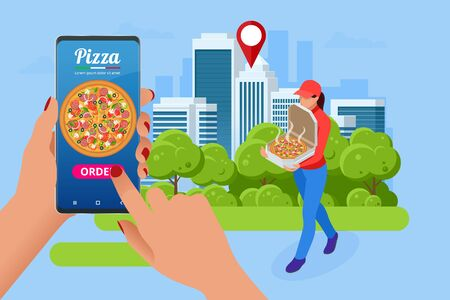 Isometric Online Pizza Order mobile app templates. Free delivery, Fast food delivery online service