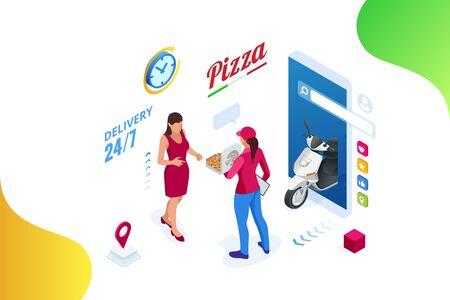 Modelli di app mobili isometrica online Pizza Order. Consegna gratuita, corriere femminile, servizio online di consegna fast food.