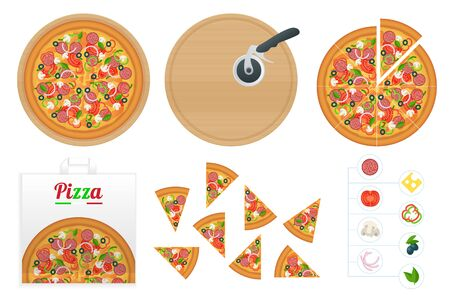 Isometric delicious pizza with ingredients and spices. Slice of fresh Italian classic Pizza isolated on white background. Hot Tasty Pizza, used for design and branding Vettoriali