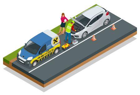 Online-Pannenhilfe. Autoreparaturservice, Verkehrsunfall, Autoprobleme. Defektes Auto und Notdienste.