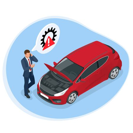 Online roadside assistance. Automobile repair service, Road accident, Car trouble. Broken Car and Emergency Services Stock Vector - 137639967