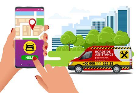 Online roadside assistance. Automobile repair service, Road accident, Car trouble. Broken Car and Emergency Services Stock Vector - 137639979