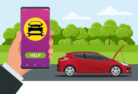 Assistance routière en ligne. Service de réparation automobile, Accident de la route, Problème de voiture. Voiture cassée et services d'urgence