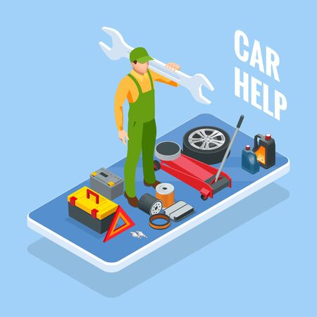 Online roadside assistance. Automobile repair service, Road accident, Car trouble. Broken Car and Emergency Services. Ilustrace
