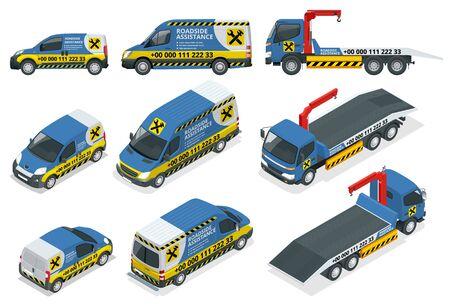 Asistencia en carretera online. Servicio de reparación de automóviles, accidentes de tráfico, problemas de automóviles. Autos rotos y servicios de emergencia Ilustración de vector