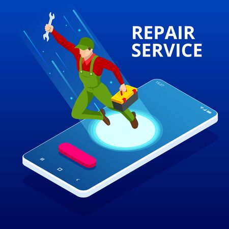 Isometric Home Repair and Renewal Service. Call Master for Home Work. Mechanic or Electronic Service Concept. Repairman Character. Stock Illustratie