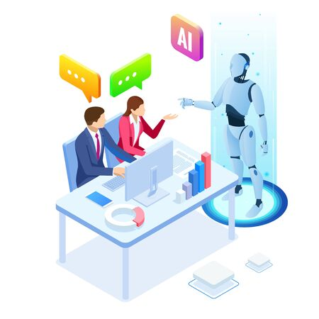 Isometric man and woman with robot artificial intelligence working , robot working with virtual display. RPA, artificial intelligence, robotics process automation Illustration