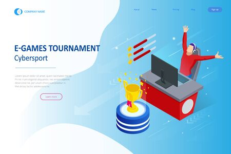 Isometric Cybersports competition. Cybersport arena with gamers. Online game tournament in player vs player format. Cybersport competition with winner cup. Ilustrace