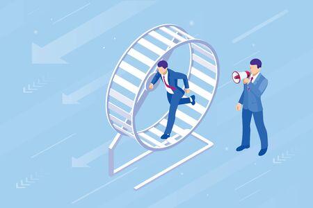 Isometrischer Geschäftsmann, der in einem Hamsterrad läuft. Das Geschäft als harte Arbeit, Motivation und Erfolgskonzept. Vektorgrafik
