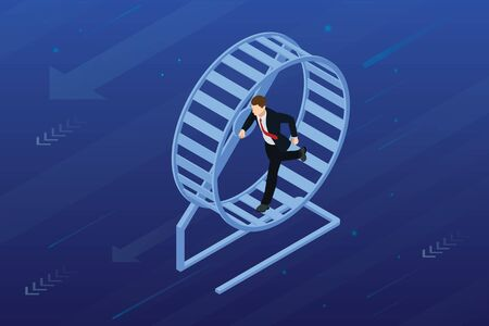 Isometric businessman running in a hamster wheel. The business as hard work, motivation and success concept. Vektorgrafik