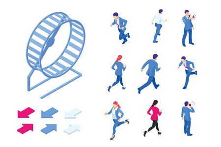Isometric set elements of businessman running in a hamster wheel. The business as hard work, motivation and success concept.