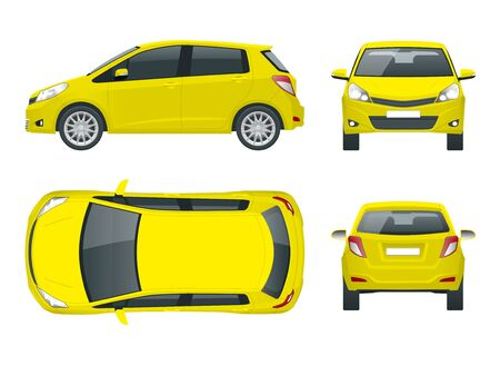 Subcompact yellow hatchback car. Compact Hybrid Vehicle. Eco-friendly hi-tech auto. Easy color change. Template vector isolated on white View front, rear, side, top 向量圖像