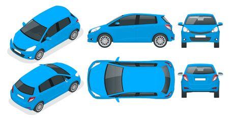 Kleinwagen in Blau mit Schrägheck. Kompaktes Hybridfahrzeug. Umweltfreundliches High-Tech-Auto. Einfacher Farbwechsel. Vorlage isoliert auf weißer Ansicht vorne, hinten, seitlich, oben und isometrisch