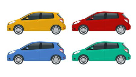 Subcompact hatchback car. Compact Hybrid Vehicle. Eco-friendly hi-tech auto. Template isolated on white View side. Векторная Иллюстрация