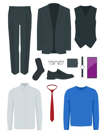 Flat set of classic mens clothes and accessories business black pantsuit, tie, socks, glasses, shoes, purse, watch, smartphone