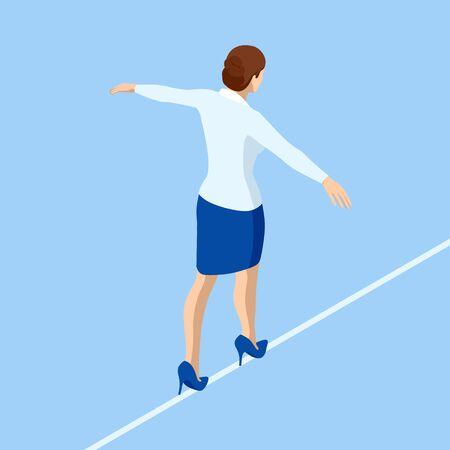 Isometrische Business-Frau Seiltänzer ist am Seil. Risikoherausforderung im Geschäft, Geschäftsrisiko, Lösung von Widrigkeitenproblemen.