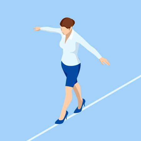 Isometric business woman tightrope walker is on the rope. Risk challenge in business, business risk, conquering adversity problems solution.